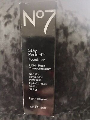 No7 stay perfect Foundation all skin types spf 15 /30ML (Choose Shade Below)