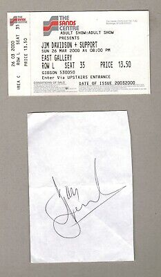 Jim Davidson - Original Hand-Signed Clipped Page And Ticket  2000