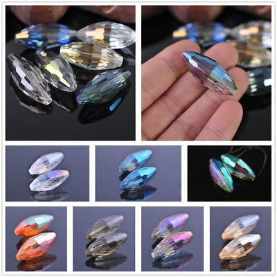 2pcs 35mm Oval Rugby Faceted Crystal Glass Charms Loose Spacer Beads Findings