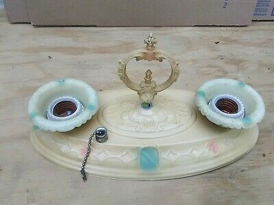 Vintage Art Deco Painted Flush Ceiling Two Bulb Light Fixture with finial