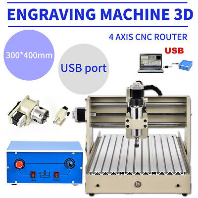 USB 4 Axis CNC Router 3040 Engraver Engraving Milling Machine Woodworking Newest