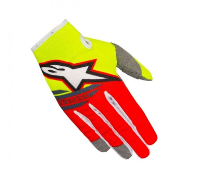 Alpinestars Radar Flight Motocross Gloves Flo Yellow Red Youth Large YL SALE