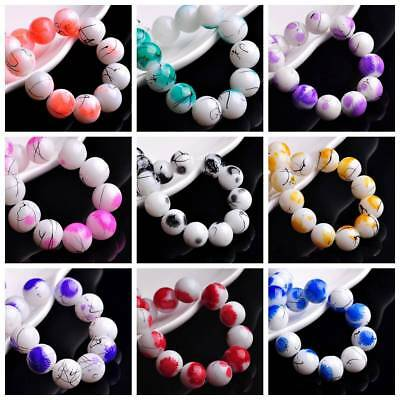 30pcs 12mm Round Spots Coated Opaque Glass Loose Spacer Beads Jewelry Findings