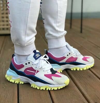 Shoes Umbro Bumpy White and Pink Sneakers Trainers Retro Lace Up Ugly Shoes New