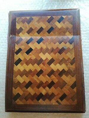 Marquetry inlay antique wooden document folder for restoration [C310]