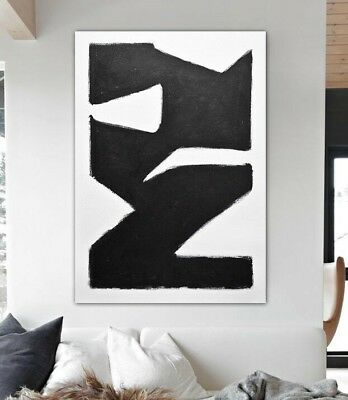 36 x 48 BLACK WHITE ORIGINAL MINIMALIST LARGE ABSTRACT ART PAINTING ~ L. Beiboer