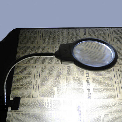 Magnifier 5X 10X Magnifying Crafts Glass Desk Flexible Lamp With LED Lights H4G0