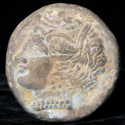 Antique Bronze Ancient Greek Or Roman Coin Collector Ceasar Desk Paperweight