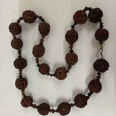 Antique Vintage  Asian Carved nut Walnut Necklace Beads hand carved Chinese