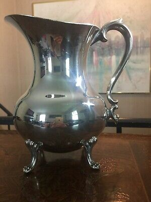 "8.5"" Silverplated Sheffield Silver Company Footed Pitcher Ice Guard"