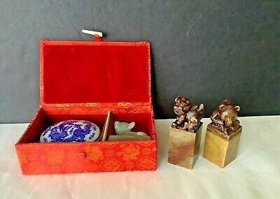 Two Vintage Old Chinese Foo Dog & Bear Hand Carved Stone Stamps Seals Figurines