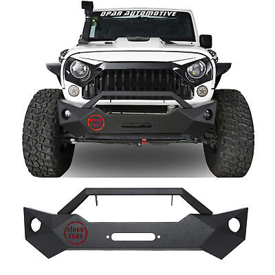 Stubby Front Bumper w/ Winch Plate & 1941 Lamp for 07-18 Jeep Wrangler JK