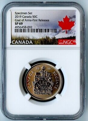 2019 Canada Ngc First Releases Sp69 Specimen Set Frosted Coat Of Arms 50 Cent!
