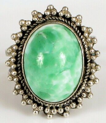 Antique Chinese Export 900 Sterling Silver Beautiful White & Green Jade Ring !