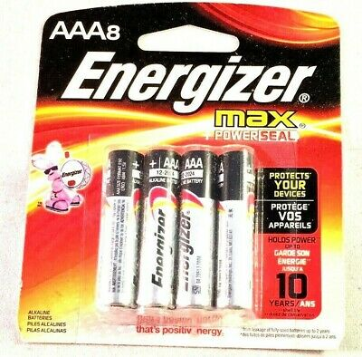 Energizer MAX Powerseal AAA Alkaline Batteries 8-Pack E92MP-8 No Leak Design NEW