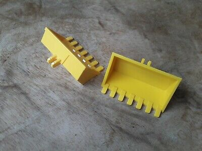 LEGO PART TECHNICS VINTAGE CLASSIC 7 TOOTH DIGGER BUCKET 30394 YELLOW X2