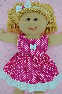 "PlaynWear Dolls Clothes For 16"" Cabbage Patch HOT PINK POLKA DOT DRESS~HEADBAND"