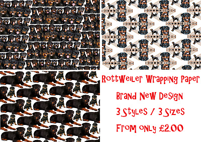 NEW ROTTWEILER Wrapping Paper * 3 Sizes/Styles *Animal Dog Birthday Party Rottie