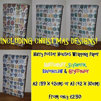 HARRY POTTER Wrapping Paper - inc CHRISTMAS!  Houses Magical Book Muggle Wizard