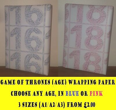 New GAME OF THRONES Birthday (Age) Wrapping Paper, Word Cloud
