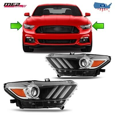 Fit 15-17 Ford Mustang Black Clear Aftermarket Projector Headlights LED Glowbars