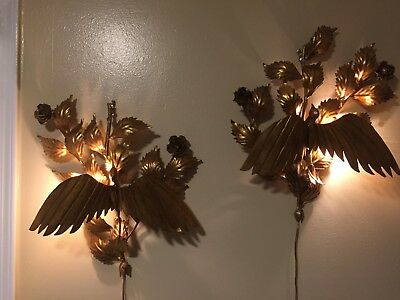 RARE FIND*PAIR 2 VTG mid-century METAL TOLE CANDELABRAS LIGHTS roses GILT BIRDS