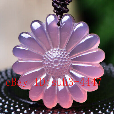 Pink Chalcedony Sun Flower Carved Jade Pendant Necklace Charm Jewelry Gifts