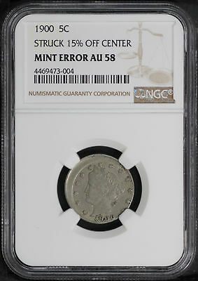 1900 Liberty V Nickel Struck 15% Off Center Mint Error NGC AU-58 -171361