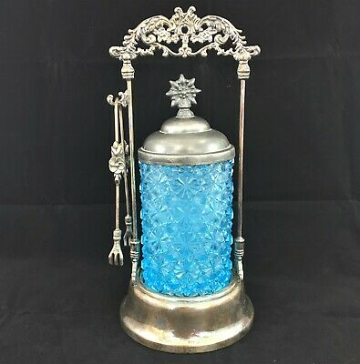 Antique Victorian Pickle Castor Cruet Blue Glass Daisy & Button Pattern & tongs