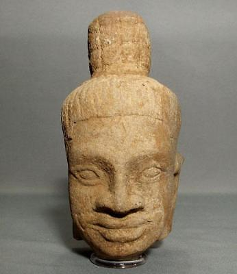Authentic Antique Khmer Sandstone Head Of Shiva Bayon Period 12th Century A.D.