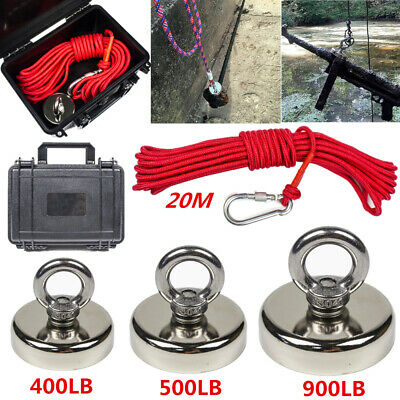 400-900LB Fishing Magnet Kit Strong Neodymium Pull Force Treasure Hunt with Rope