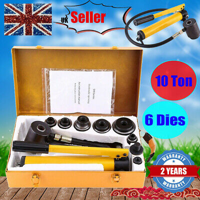 10 Ton Hydraulic Hand Pump Knockout Hole Punch Tool Kit Steel 6 Die 22-60mm +Box