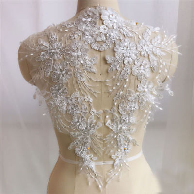 White Lace Embroidery Trim Sewing Iron Applique Motif DIY Wedding Dress Crafts