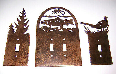 Metal Toggle Light Switch Plate Covers:   Trees & Pheasant Single & Fish Double