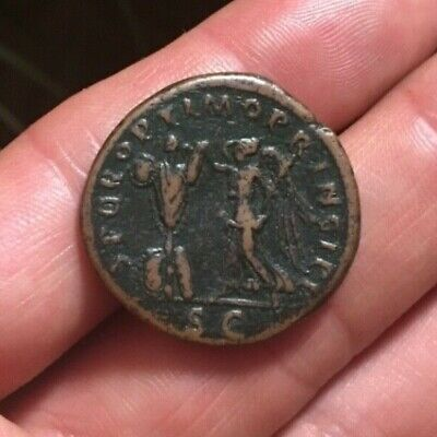SCARCE Ancient Roman AE As TRAJAN 106-107AD VICTORY CROWNING TROPHY RIC524 8.74g