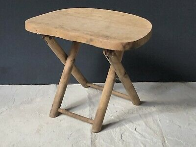 Rare Vintage PRIMITIVE Raw WOOD Antique STOOL Chair Yugoslavia *Nevco Fold Carry