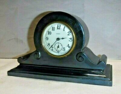 Antique Ansonia 8 Day Tambour Clock Desk, Boudoir, Mantle Black Iron Working