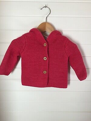 Sprout Knit Hooded Cardigan - Size 00 / 3-6 months (#D1804)