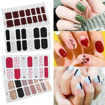 3D Rainbow Floral Nail Wraps Art Full Stickers Adhesive Decals Manicure Decor