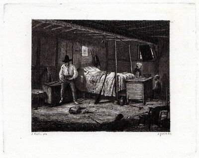 """Strong 1800s Adolphe Roehn Etching """"Poacher Cleaning his Gun"""" Signed FRAMED COA"""