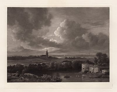"Attractive 1800s RUISDAEL Antique Etching ""Village Church Landscape"" Framed COA"