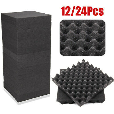 UK 24pcs Soundproof Absorption Treatment Panel Studio Acoustic Soundproof Foam