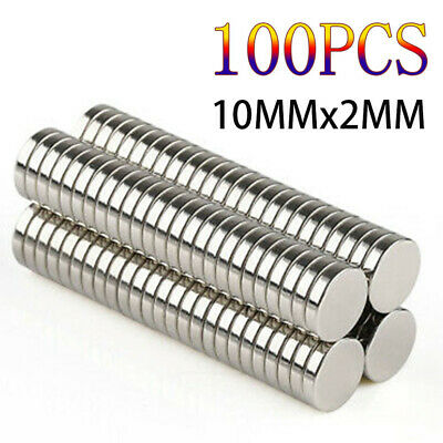 100x Super Strong Round Disc Magnets Rare-Earth Neodymium Magnet N35 10 x 2 mm