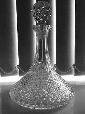 Vintage Cut Glass Crystal Hobnail Ships Decanter w/ Original Stopper (2)