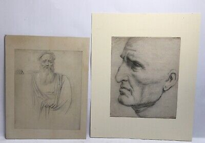 Antique 18th Century European School Drawings In Pencil And Crayon Of Men