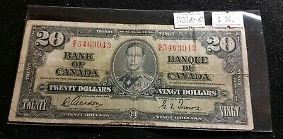 Canada 1937 $20 Dollar Bill Gordon - Towers B/E Very Nice Collectable Banknote