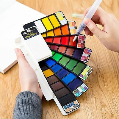 Solid Watercolor Paint Set Water Brush Pen Foldable Travel Water Color Pigment