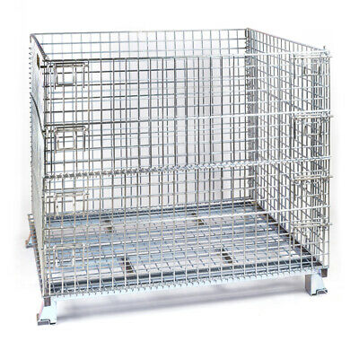 "Folding Wire Container 40 x 48 x 36"" 4000 Lbs Cap. Wire 2 x 2"" Silver"