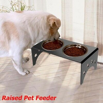 Pet Dog Cat Dual Bowl Food Water Feeder Raised Rack Feeding Dish Stand Holder