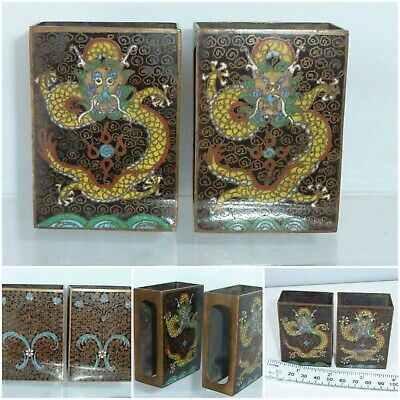 Antique pair Cloisonne Match Box Holder Chinese /Japanese 5 toe Dragon